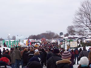 Crowd at the Place de la Famille, a Quebec Win...