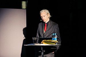 Julian Assange at New Media Days 09 in Copenhagen.