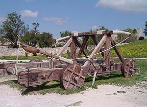 Replica catapult at Château des Baux, France
