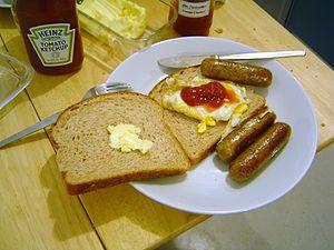 English sausage and egg sandwich.