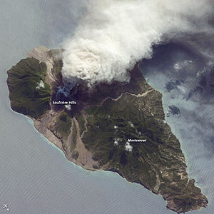 English: Ash and Steam Plume, Soufriere Hills ...