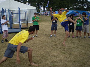 Brazilian scouts dancing capoeira at the 21st ...