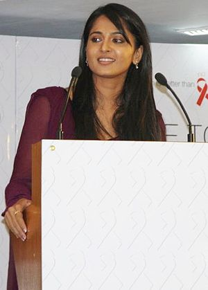 English: Anushka Shetty at the TeachAIDS launc...