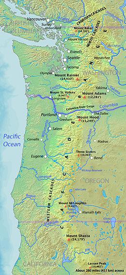 Die kaskadenkette oder das kaskadengebirge (englisch cascade range oder cascades) ist ein gebirgszug vulkanischen ursprungs, der parallel zur westküste. Cascade Range Wikipedia