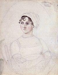 Watercolour-and-pencil portrait of Jane Austen