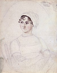 Watercolour-and-pencil portrait of Jane Austen