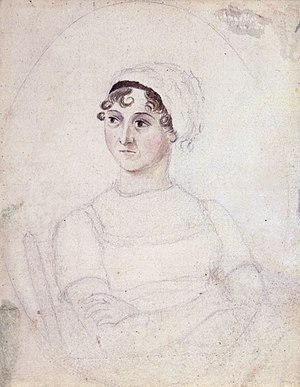 Jane Austen, Watercolour and pencil portrait b...