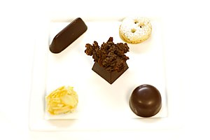 A plate of chocolate delicacies.