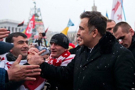 Georgian ex-President Mikheil Saakashvili at the Euromaidan rally in Kiev. 2013