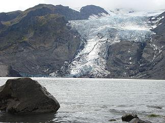 Gígjökull mit  Gletschersee Lónið, 2008