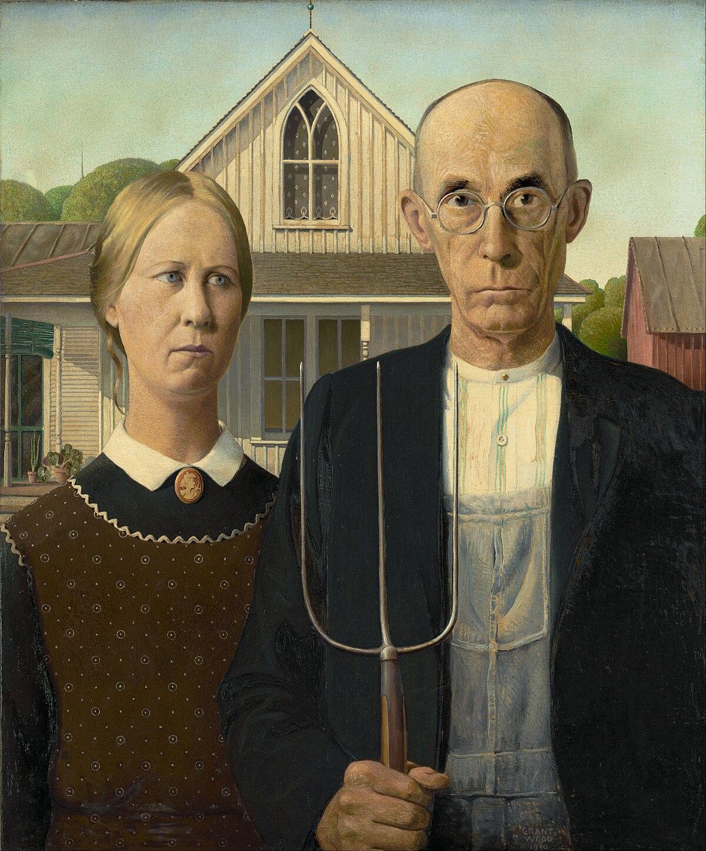 Pitchfork Couple Painting : pitchfork, couple, painting, American, Gothic, Wikipedia