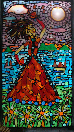 "12x 18"" stained glass mosaic cabinet door"
