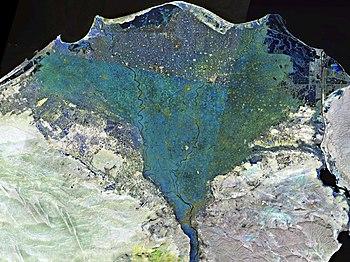 English: Landsat 7 false colour image of the N...