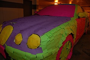 Jag covered with PostIt Notes as a practical joke