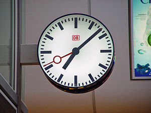 A typical Deutsche Bahn railway station clock