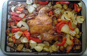 English: Baked rock Cornish game hen with roas...