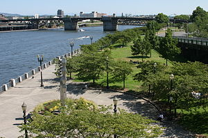 Tom McCall Waterfront Park, seen looking south...