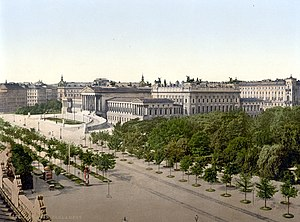 The newly completed Ringstraße with Parliament...