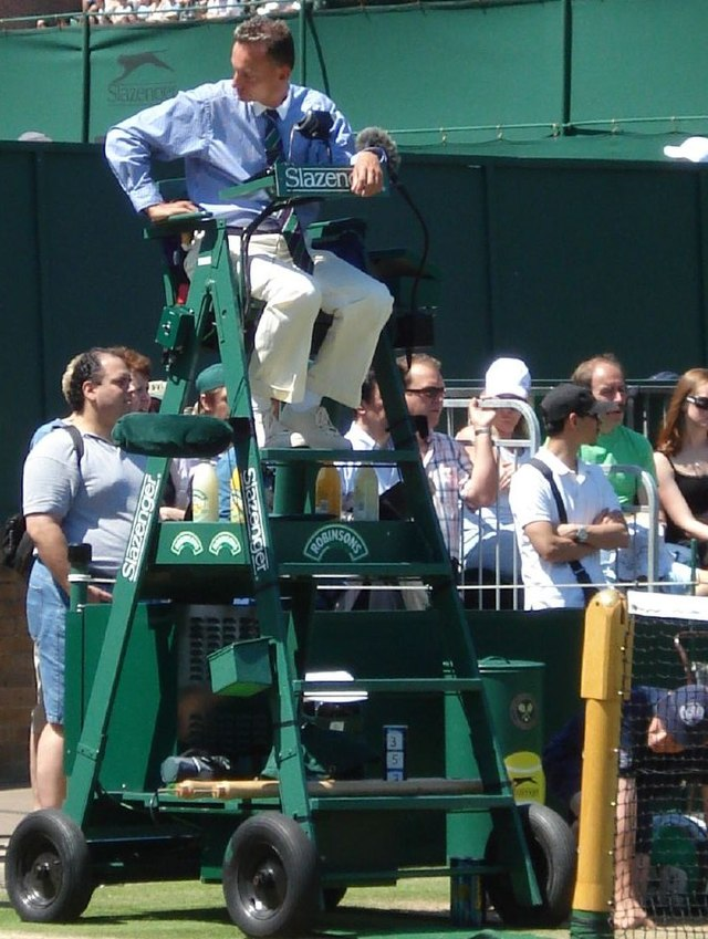 tennis umpire chair hire occasional chairs cheap official wikiwand lars graff positions himself prior to a match at wimbledon