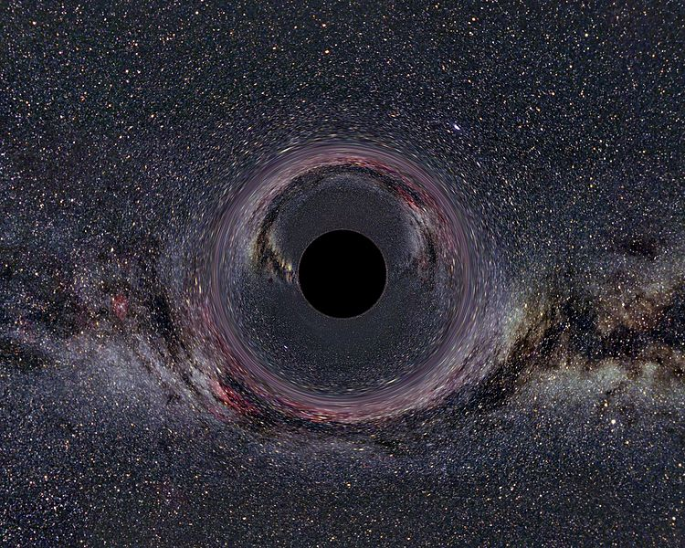 Simulated view of a black hole in front of the Milky Way. The hole has 10 solar masses and is viewed from a distance of 600 km.