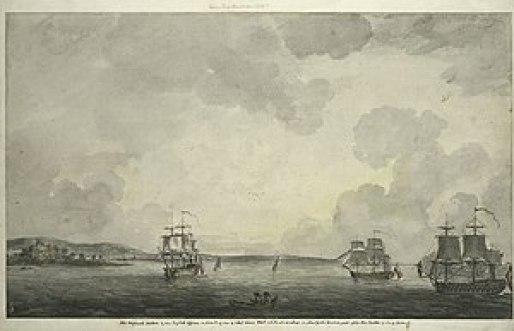 English: The British fleet in New York Harbor ...