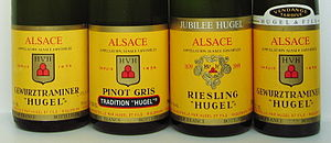 Wines from Hugel & Fils, Alsace, showing the l...