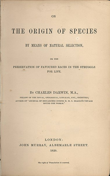 Title page, 1859 edition of Darwin's Origin of Species - University of Sydney/Wikimedia image