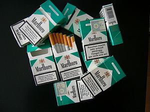Different Marlboro Menthol cigarette boxes.