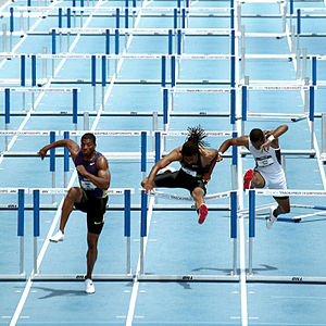 The men's 110m hurdles semi-finals.