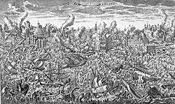 Gravura do grande terramoto de Lisboa de 1 de Novembro de 1755, mostra o terceiro sismo mais forte registado no mundo.