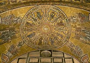 Mosaic vault showing the Lamb of God, the Patr...