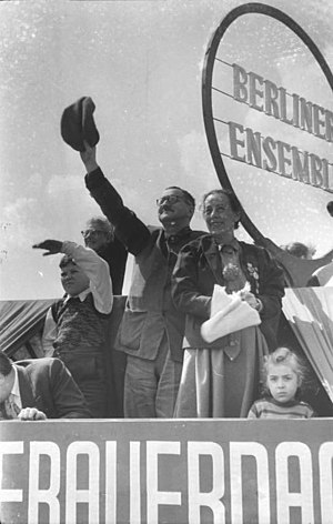 Brecht and Weigel on the roof of the Berliner ...
