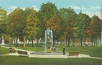 City Park & Fountain, Lewiston, ME; from a c. ...