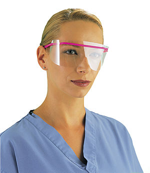 A model wearing infection control goggles