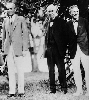 A photograph of Henry Ford, Thomas Alva Edison...