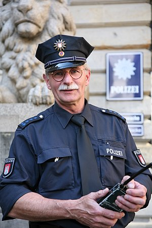 A senior police officer of the Hamburg police ...