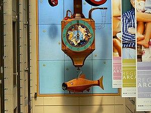 English: Kit Williams clock close-up, Regent A...