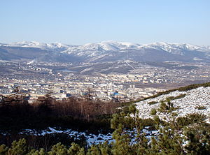 English: Magadan seen from Staritski peninsula...