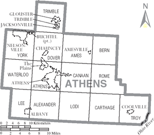 Map of Athens County, Ohio, United States with...
