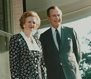Margaret Thatcher with George H. W. Bush
