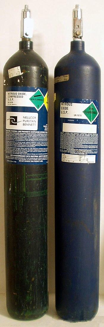 English: Medical grade Nitrous Oxide tanks use...