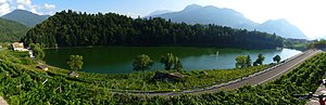 Pergine Valsugana (Italy): panorama of lake Ca...