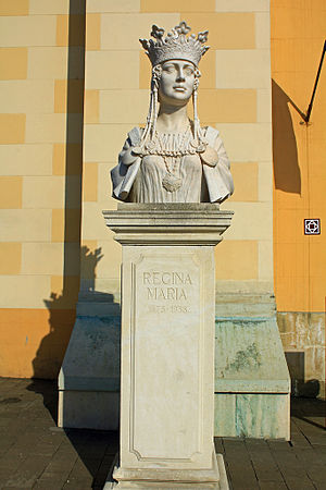 Română: Bustul Reginei Maria la intrarea în Ca...