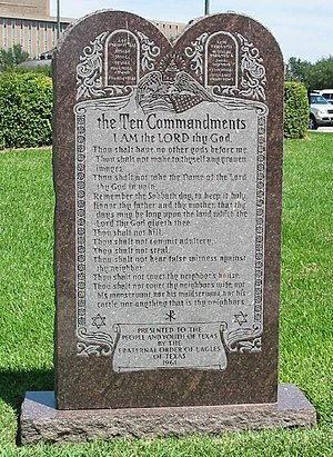 The Ten Commandments of the Mosaic Law on a mo...