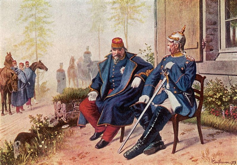 Napoleon III and Bismarck talk after Napoleon's capture at the Battle of Sedan by Wilhelm Camphausen.