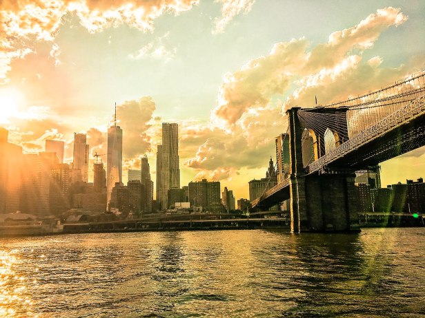 Brooklyn Bridge, New York City, New York, at sunset - 20170625