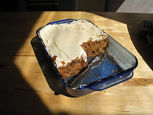 Carrot cake in pan