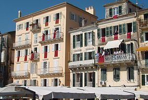 Houses in the old town of Corfu, decorated wit...