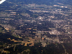 Looking west over Bloomington, Indiana. A phot...
