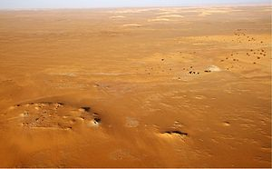 Aerial view of Gobero archaeological site in N...